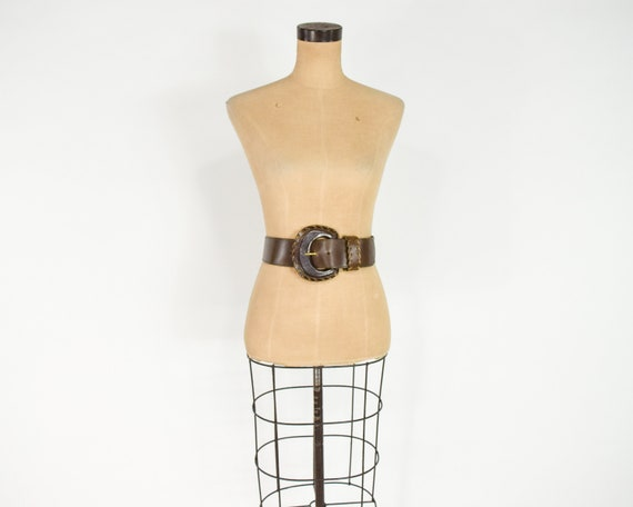 1980s Brown Wide Leather Belt | 80s Brown Leather… - image 3