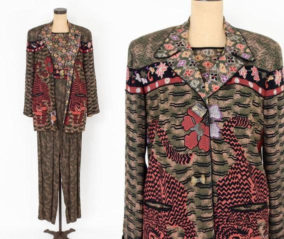 1980s Brown Rayon Pant Jacket Set | 80s Tiger Pri… - image 1