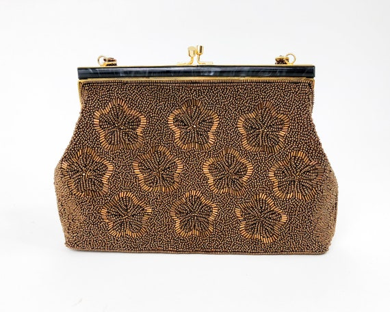1960s Brown Beaded Evening Bag |60s Bronze Floral… - image 2