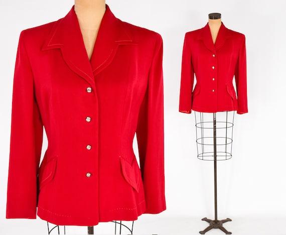 1940s Red Wool Gabardine Jacket | 40s Red Wool Bla