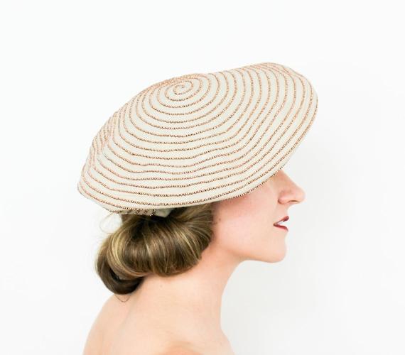 1940s Beige Wool Beret Hat | 40s Tan Wool Beaded B