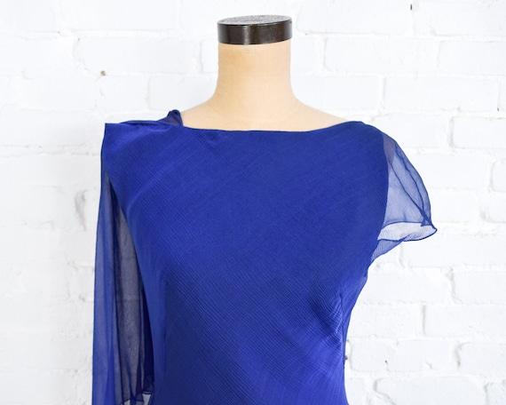 1990s Dark Blue Chiffon Evening Gown | 90s Blue I… - image 6