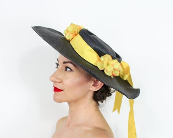 1940s Black Straw Sun Hat | 40s Black Wide Brim S… - image 5