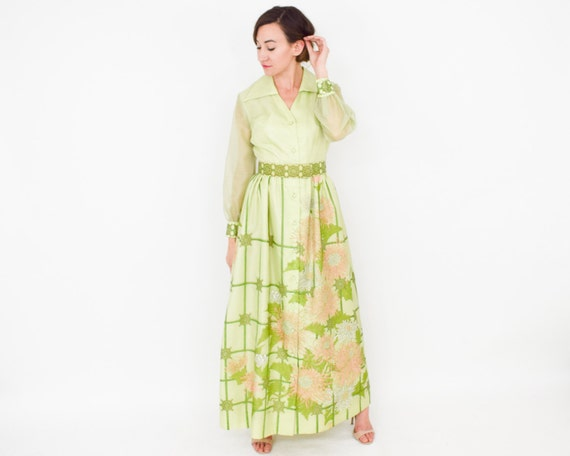 Alfred Shaheen | 1970s Green Maxi Dress | 70s Lim… - image 3