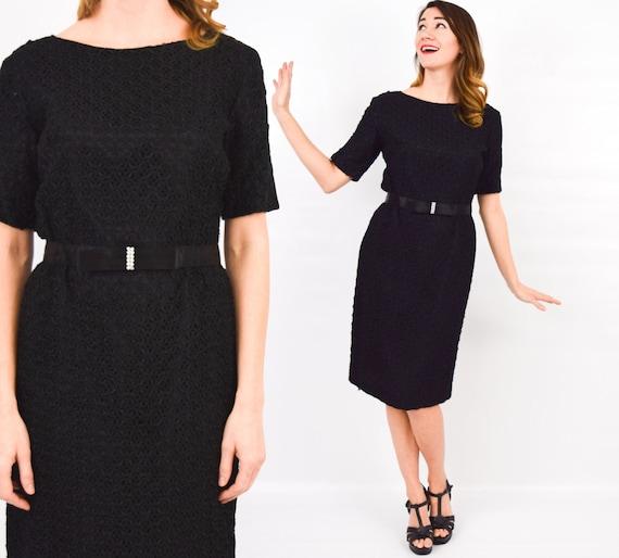 1960s Black Ribbon Dress   60s Black Party Dress  