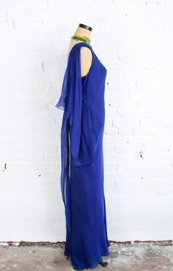 1990s Dark Blue Chiffon Evening Gown | 90s Blue I… - image 5