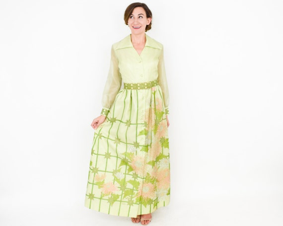 Alfred Shaheen | 1970s Green Maxi Dress | 70s Lim… - image 5