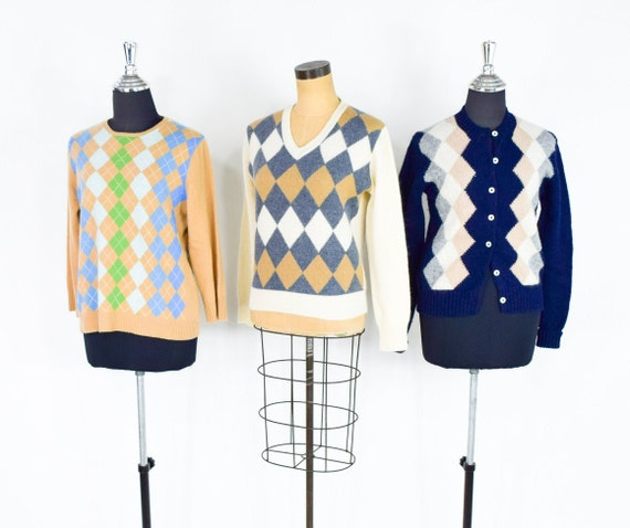 1960s Fall Argyle Sweaters | 60s Navy Argyle Cardi
