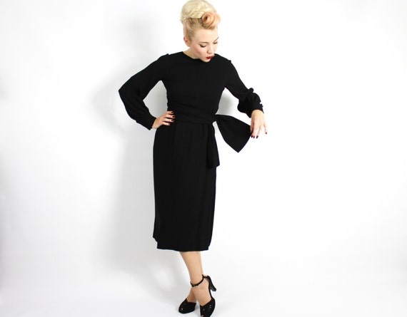 1960s Black Crepe Evening Dress | 60s Black Crepe… - image 3