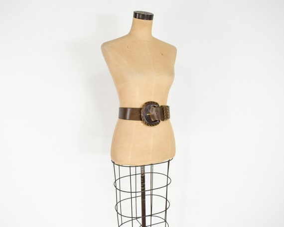 1980s Brown Wide Leather Belt | 80s Brown Leather… - image 4