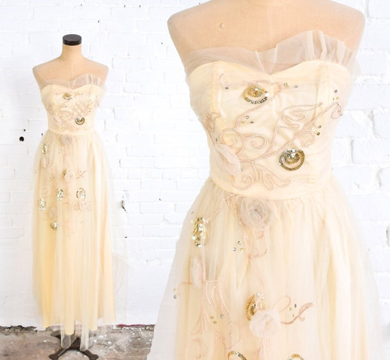 1940s Gold Strapless Evening Dress | 40s Champagne