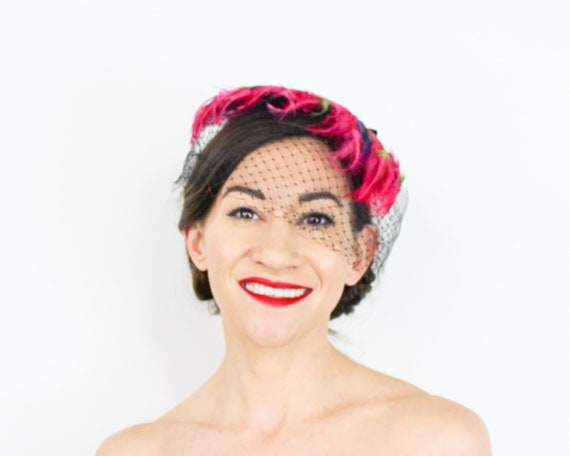 1950s Pink Feather Fascinator | 50s Magenta Feath… - image 3