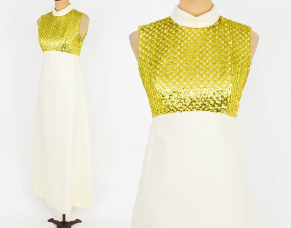 1960s White Sequin Maxi Dress | 60s Gold Sequin To