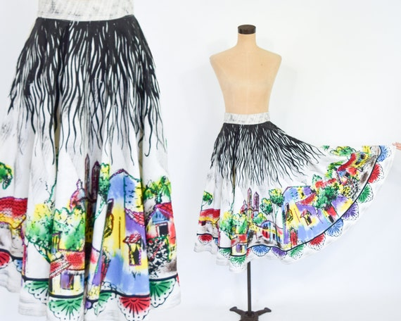 1950s Mexico Sequin Circle Skirt | 50s Hand Painte