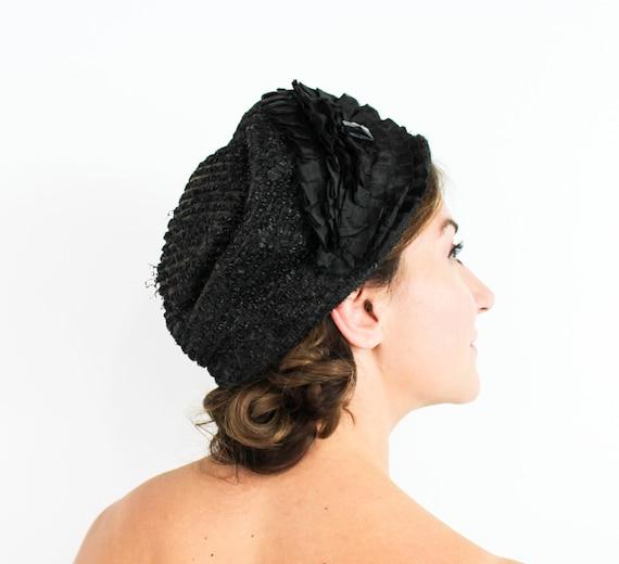 1920s Black Cloche Hat | 20s Black Pleated Ribbon