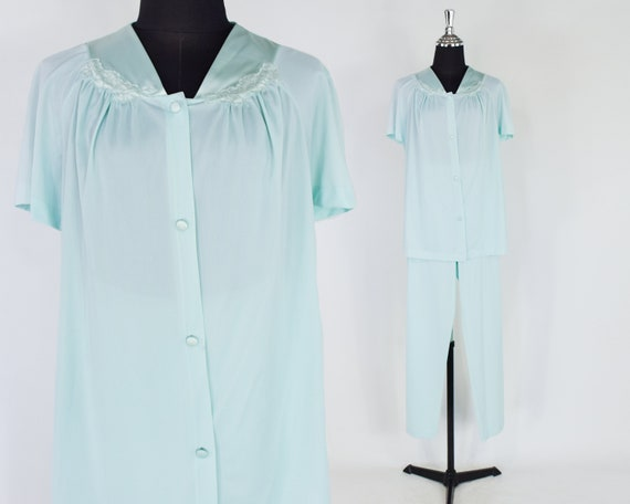 1950s Blue Nylon Pajama Set | 50s Light Green Paja