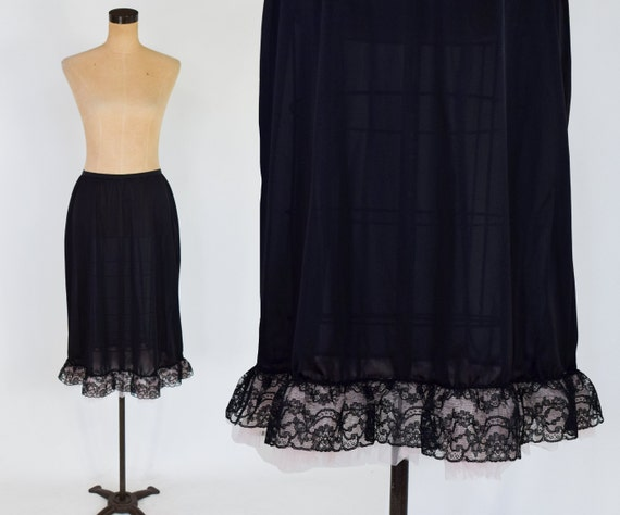 1950s Black Nylon Half Slip | 50s Black Lace Ruffl