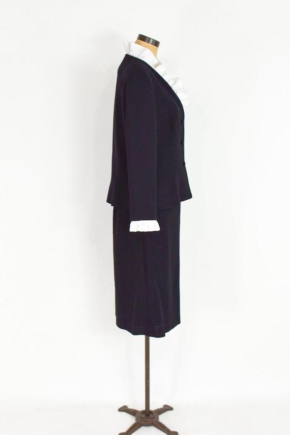 Lilli Ann | 1970s Black Wool Crepe Suit | 70s Bla… - image 8
