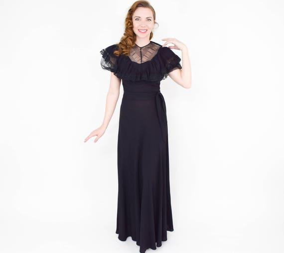 1940s Black Crepe Evening Dress | 40s Black Lace … - image 5
