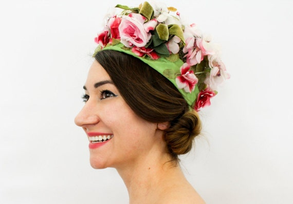 1960s Pink Flower Hat | 60s Green & Pink Flowered