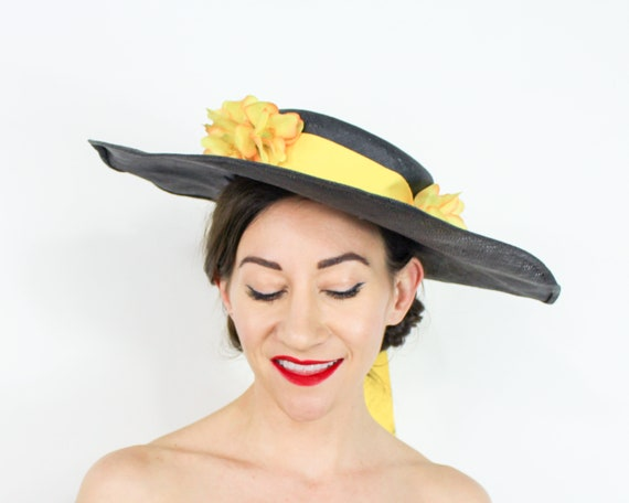 1940s Black Straw Sun Hat | 40s Black Wide Brim S… - image 8