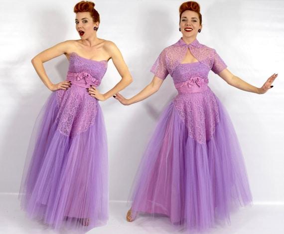 1940s Purple Lace Evening Dress | 40s Lavender Tu… - image 5