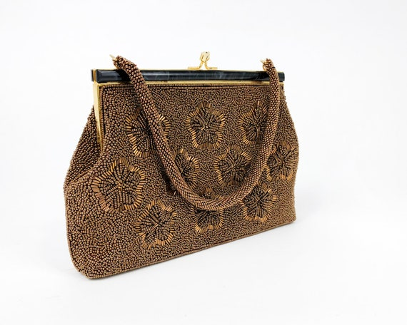 1960s Brown Beaded Evening Bag |60s Bronze Floral… - image 4