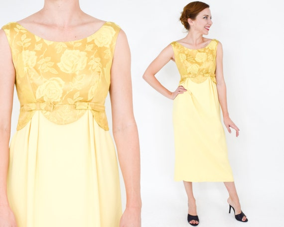 1950s Yellow Crepe Evening Dress | 50s Lemon Yello