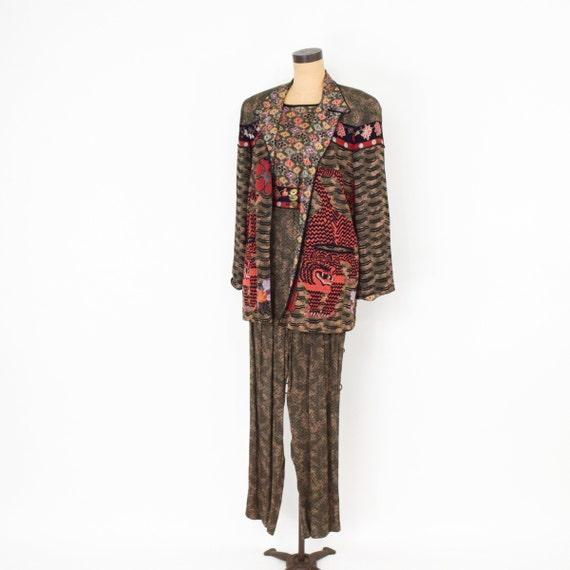 1980s Brown Rayon Pant Jacket Set | 80s Tiger Pri… - image 3