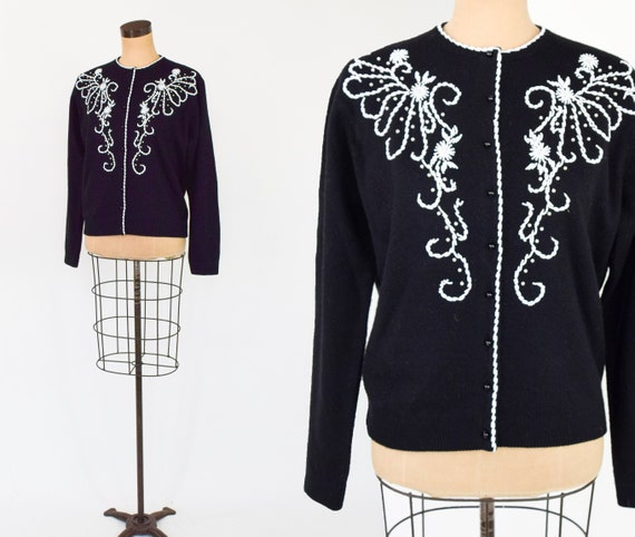 1950s Black Wool Beaded Cardigan | 50s Black & Whi