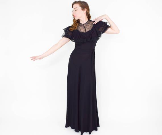 1940s Black Crepe Evening Dress | 40s Black Lace … - image 2