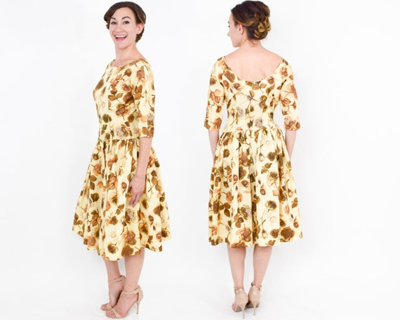 1950s Yellow Floral Sateen Dress | 50s Yellow & Go