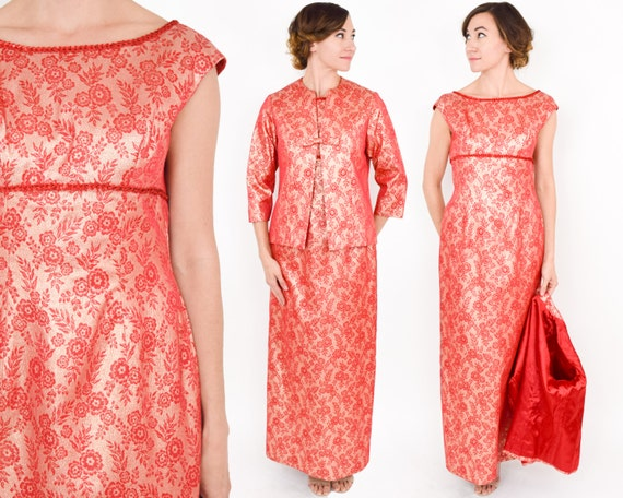 1970s Red Gold Brocade Evening Dress & Jacket | 70