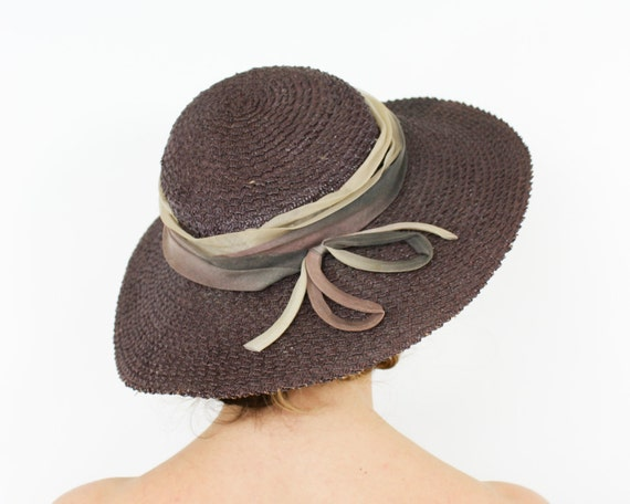 1940s Brown Woven Straw Hat | 40s Brown Saucer Hat