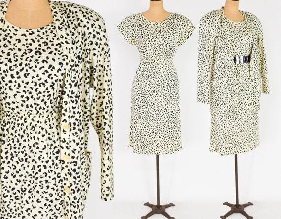 1980s Animal Print Cotton Knit 3pc Set | 80s Leopa