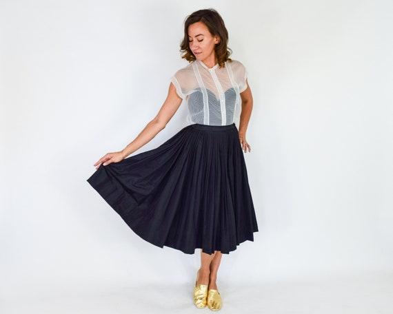 1950s Black Pleated Full Skirt   50s Black Evenin… - image 7