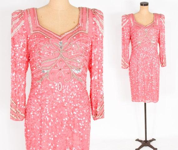 1980s Pink Beaded Silk Dress | 80s Pink Sequin & B