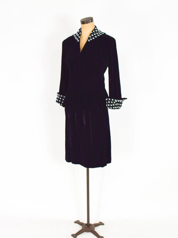 1940s Black Silk Velvet Suit | 40s Black Velvet S… - image 5