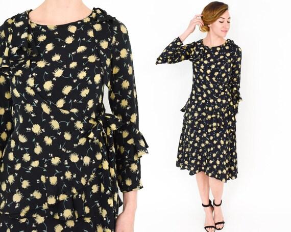 1930s Black Floral Dress |  30s Black Rayon Crepe