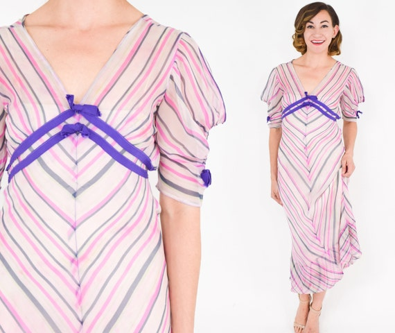 1930s Pink Chiffon Stripe Dress |  30s Pink Silk C
