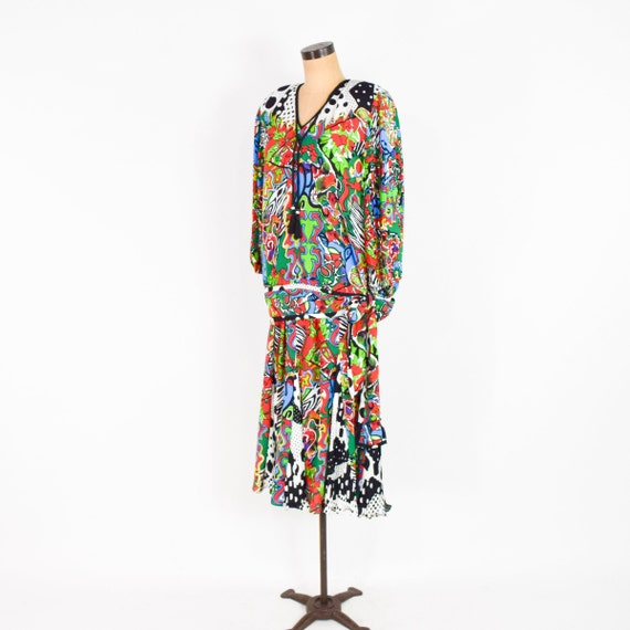 1980s Colorful Diane Freis Blouse & Skirt | 80s O… - image 6