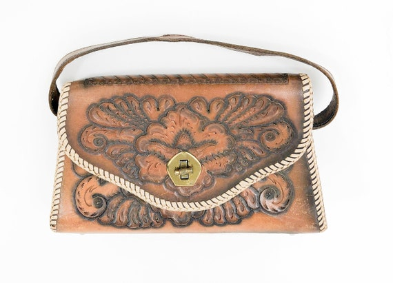 1940s Tooled Leather Purse | 40s Brown Tooled Leat