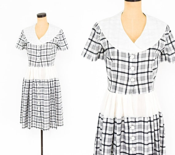1950s Black & White Plaid Dress | 50s White Plaid