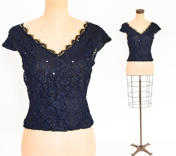 1940s Black Lace Evening Blouse | 40s Black Lace R