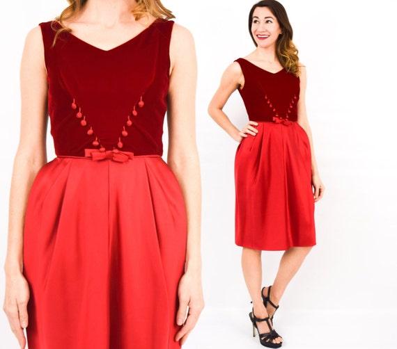 Vintage 1950s Raspberry Red Velvet Joytime Sleeveless Dress