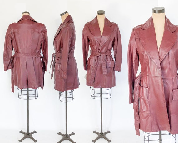 1970s Leather Trench Coats | 70s Long Caramel Mar… - image 8