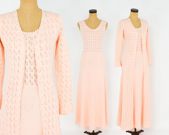 1970s Peach Knit Maxi Dress Set | 70s Knit Maxi Dr