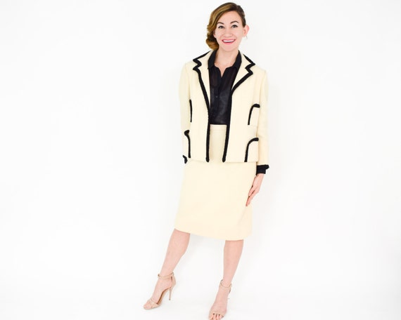 Lilli Ann | 1960s White & Black Wool Suit | 60s C… - image 4