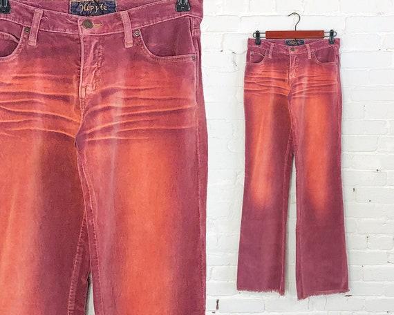 1990s Pink Velvet Faded Jeans   90s Rose & Orange