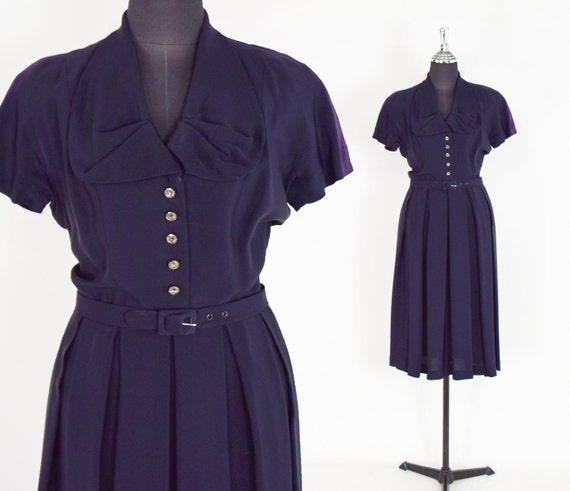 1940s Navy Crepe Dress | 40s Navy Crepe Secretary